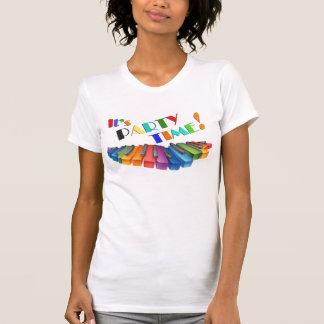 Teclado colorido del tiempo del fiesta camisetas