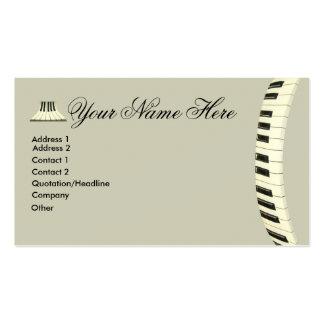 Teclado de piano de cola tarjetas de negocios