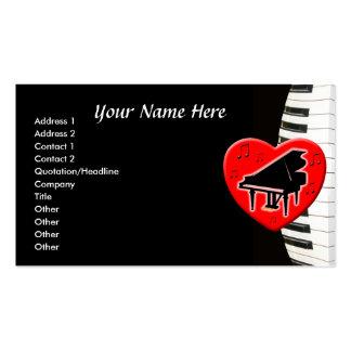 Teclado y corazón de piano de cola tarjetas de visita