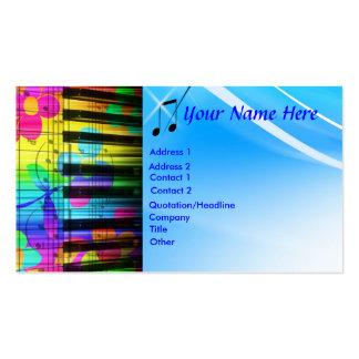 Teclado y flores psicodélicos de piano tarjetas de visita