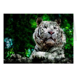 Técnicas mixtas blancas del tigre tarjeta de felicitación