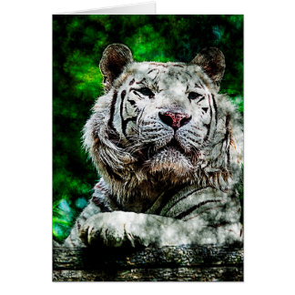Técnicas mixtas blancas del tigre (v2) tarjeta de felicitación