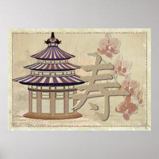 Técnicas mixtas subiós pagoda orientales póster