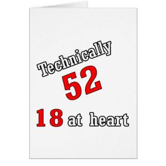Técnico 52, 18 en el corazón tarjeta de felicitación