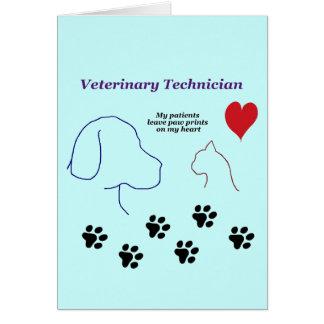 Técnico veterinario - impresiones de la pata en mi tarjeta de felicitación