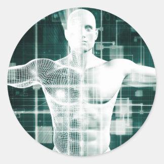 Tecnología de la atención sanitaria y exploración pegatina redonda