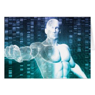 Tecnología médica con el ingeniero del científico tarjeta pequeña