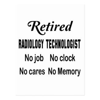 Tecnólogo jubilado de la radiología ningún trabajo postal