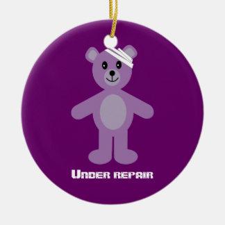 TeddyBear lindo bajo aniversario de la Adorno Redondo De Cerámica