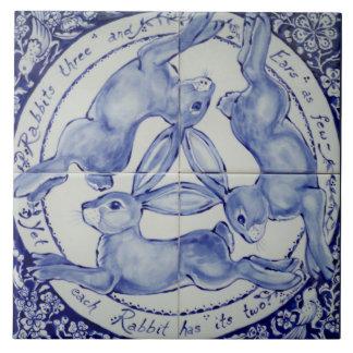 Azulejo De Cerámica Teja azul y blanca Trivet del pájaro del trío de