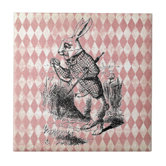 Teja blanca del diamante del rosa del conejo
