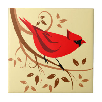 Teja cardinal septentrional estilizada del arte