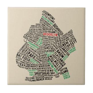Teja del mapa de la tipografía de Brooklyn Nueva
