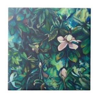 Teja floral de cerámica de la magnolia tropical