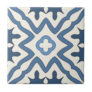 Teja geométrica inspirada griega de marfil azul