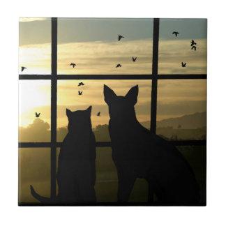 Teja linda del arte del perro y del gato