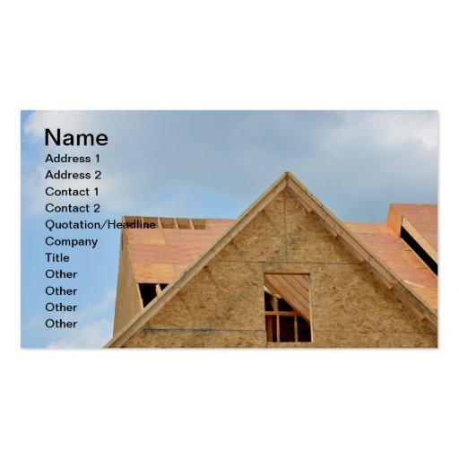 tejado de madera para el nuevo hogar bajo construc tarjetas personales