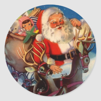 Tejado del reno de Santa del navidad del vintage Pegatinas Redondas