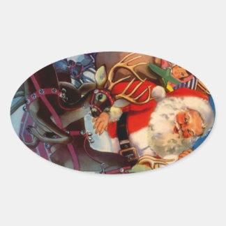 Tejado del reno de Santa del navidad del vintage Calcomanías De Óvales