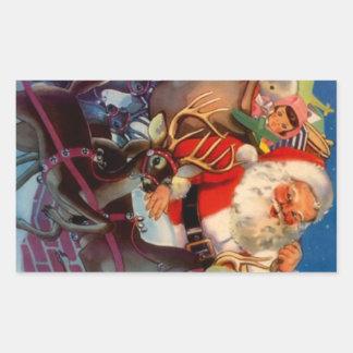 Tejado del reno de Santa del navidad del vintage Rectangular Pegatinas