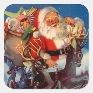 Tejado del reno de Santa del navidad del vintage Colcomanias Cuadradas Personalizadas