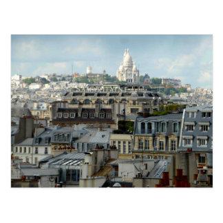 Tejados de París y postal de Sacre Coeur