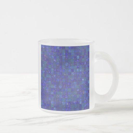 Tejas azules del cuarto de baño tazas de café