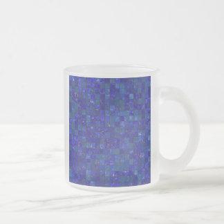 Tejas azules del cuarto de baño taza de cristal
