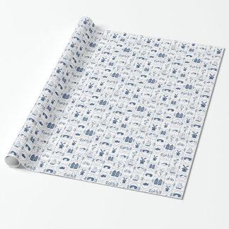 Tejas azules holandesas papel de regalo