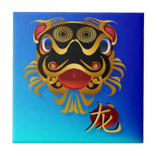 Tejas chinas de la cara y del símbolo del dragón d