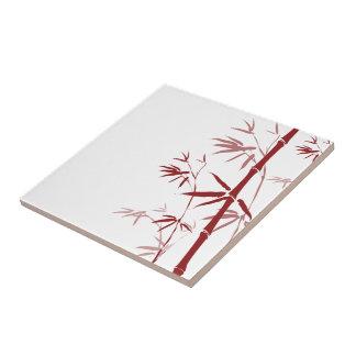 Tejas de bambú rojas y Trivets
