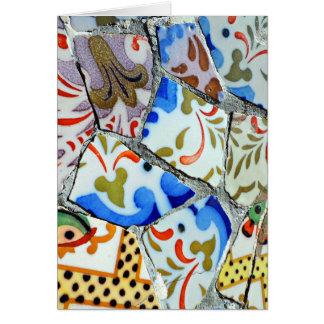 Tejas de mosaico de Guell del parque de Gaudi Tarjeta De Felicitación