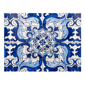 Tejas esmaltadas de Azulejo del portugués Postal