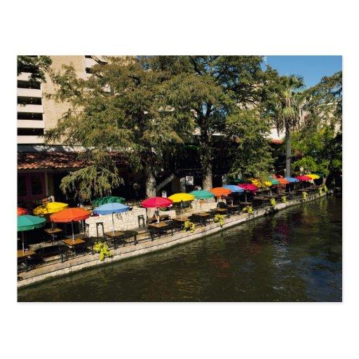 Tejas, Riverwalk, cenando en el borde del río Tarjetas Postales