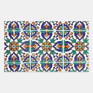 Tejas tunecinas pegatina rectangular