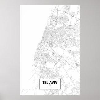 Tel Aviv, Israel (negro en blanco) Póster