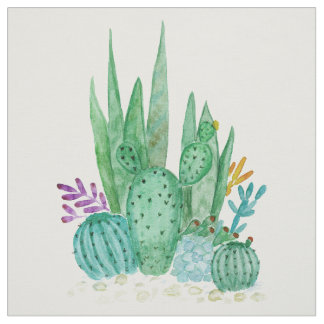 Tela Acuarela, cactus, succulents