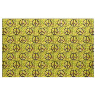 Tela amarillo maravilloso del modelo del símbolo de paz