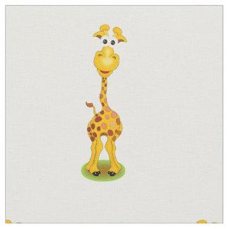 Tela Amarillo y jirafa feliz anaranjada del dibujo