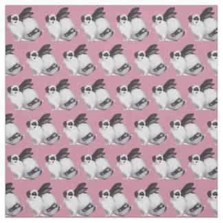 Tela animal del arte del conejito blanco y negro