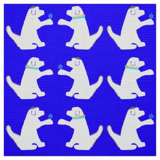 Tela azul y blanca de Jánuca del perro Telas