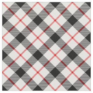 Tela blanco y negro roja de la tela escocesa