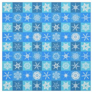 Tela Copos de nieve azules