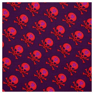 Tela Cráneo rojo y bandera pirata del Biohazard