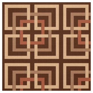 Tela Cuadrados geométricos, marrón modernos y moreno