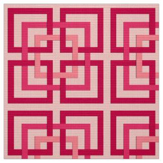 Tela Cuadrados geométricos modernos, rojo rosado y