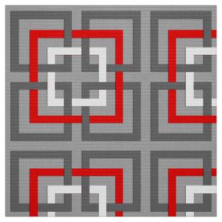 Tela Cuadrados, gris, rojo y blanco geométricos