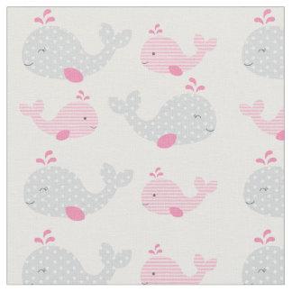 Tela Cuarto de niños rosado del bebé de la ballena