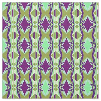 Tela de algodón - Arte-Púrpura/verde/nata
