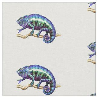 Tela de algodón azul del camaleón de la pantera